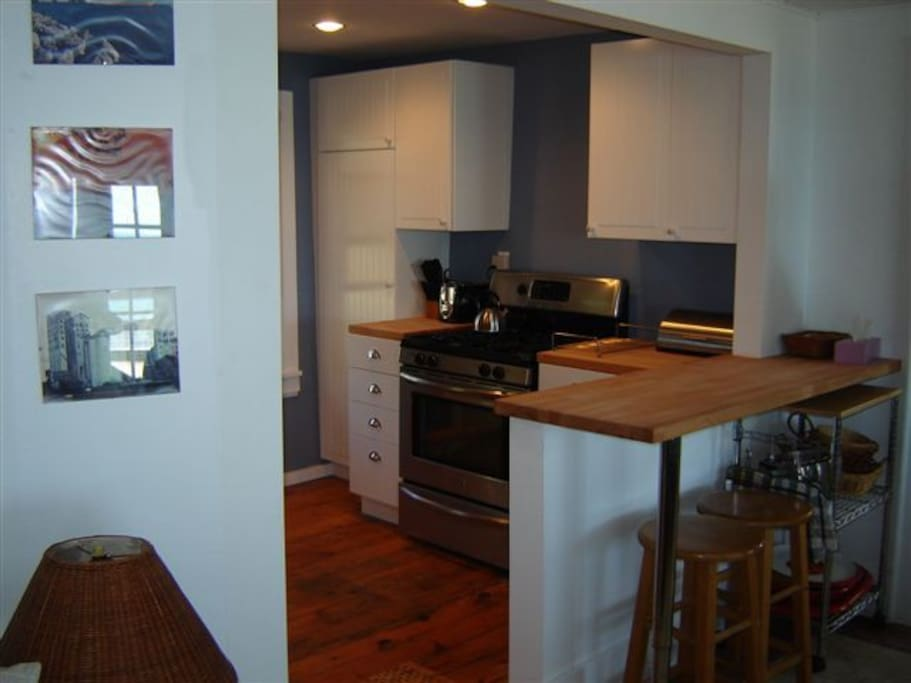 New kitchen with all stainless steel appliances