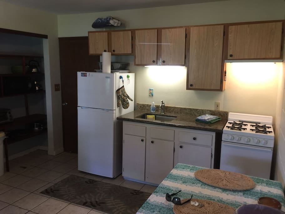 All kitchen amenities and granite counter.