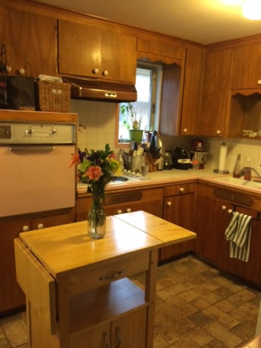 Retro kitchen with pink oven :)