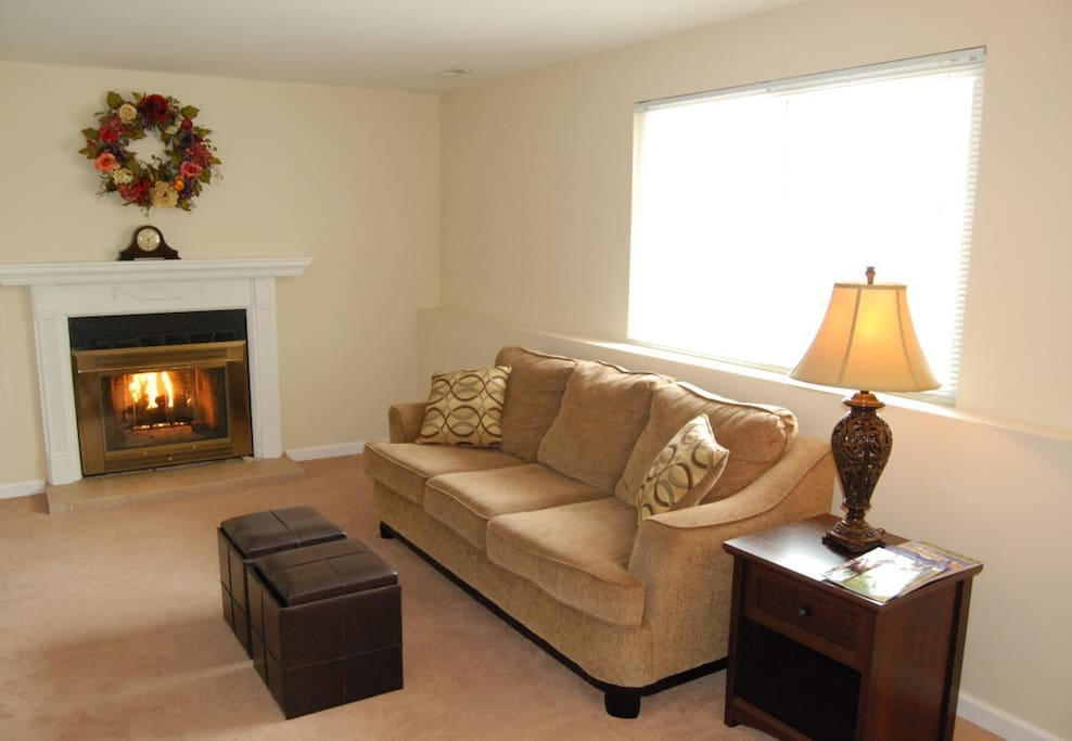 Enjoy the gas fireplace and afternoon sun in the lower living room