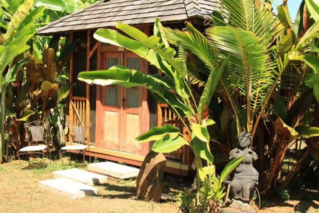 This Sleeping Temple is tucked into Beautiful Heliconias and Banana trees!