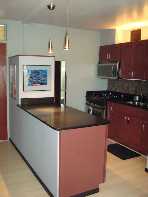 Kitchen with gas stove, stainless steel appliances and everything you need
