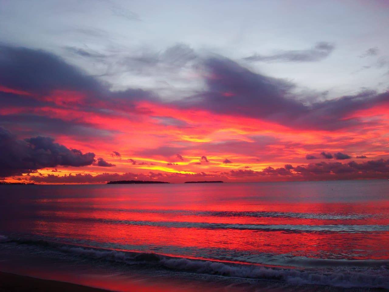 le coucher de soleil,