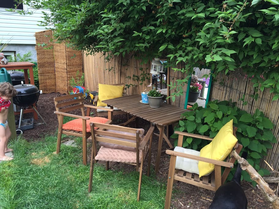 backyard dining table and grill