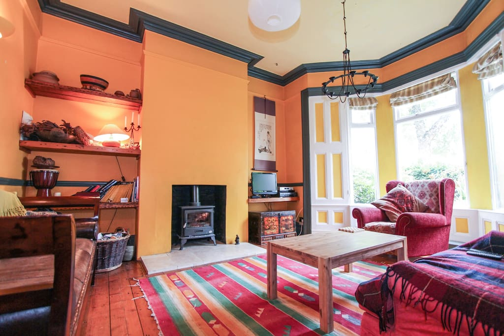 Lounge room with wood burning stove