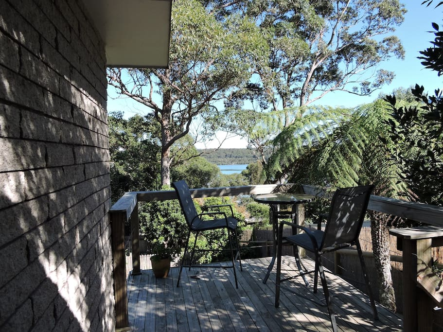 Enjoy the view over Tuross Lake from the back deck by walking past the herb bed (need some  fresh herbs to garnish you food ? - pls help yourself)