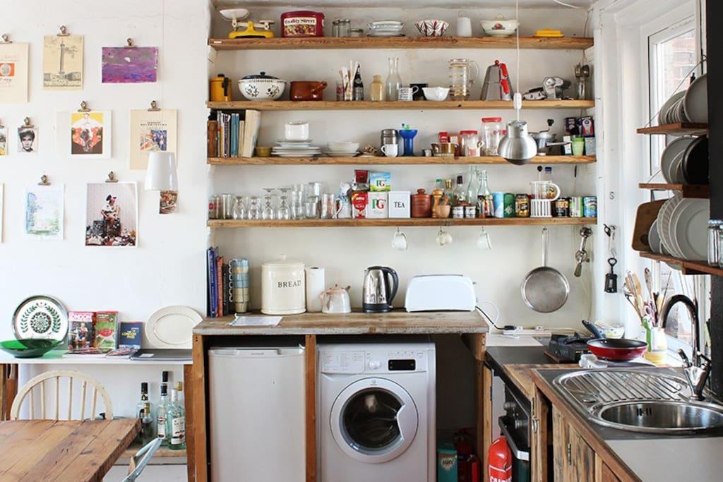 the kitchen area,