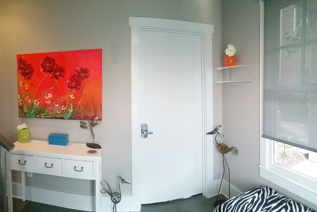 Guest room with coded lock directly across from the front door. No keys required!