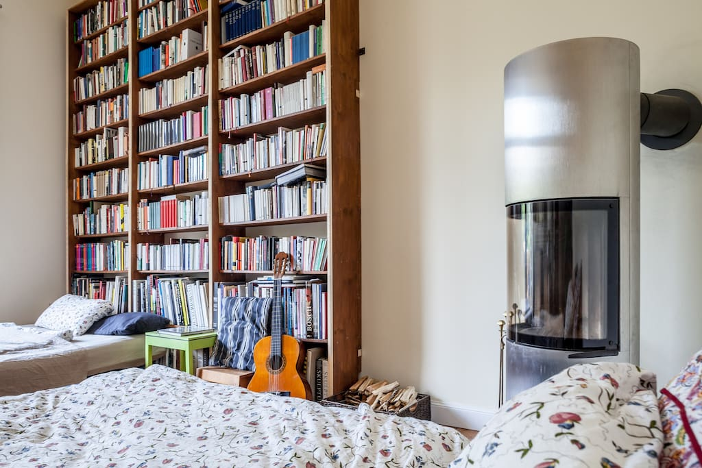 Stylish Room w/ Fireplace & Library