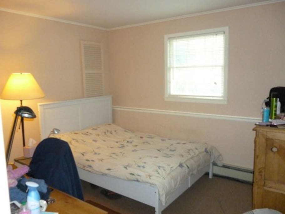 Fully furnished bedroom with a full size bed.