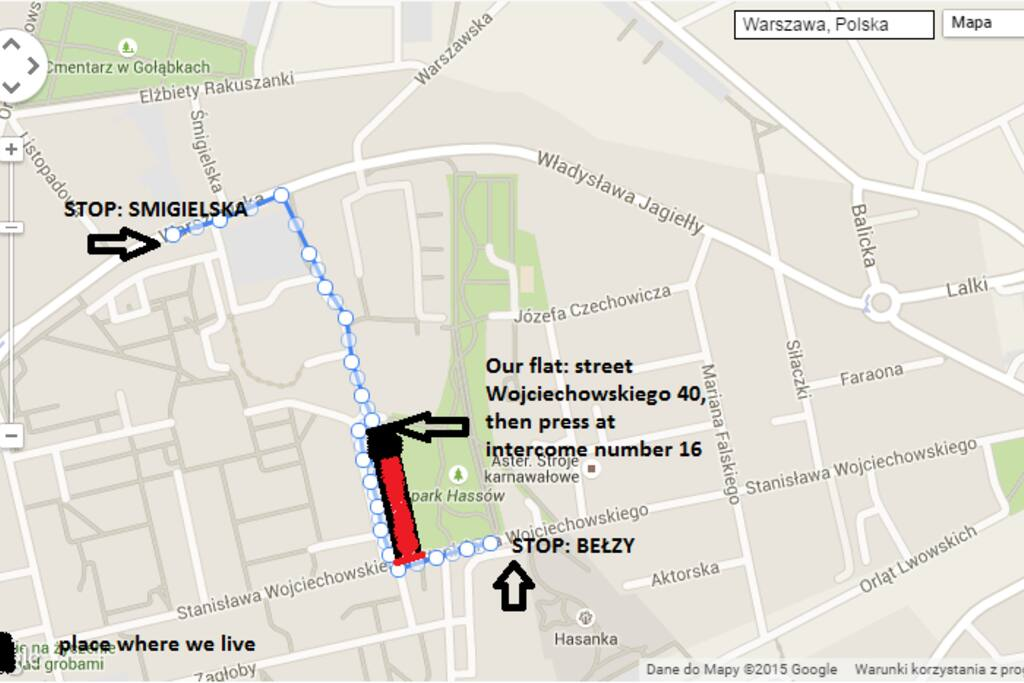 How to get from bus stop to our place!