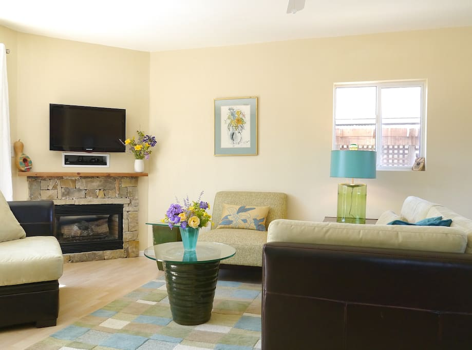 Living area with seating for four, fireplace with heater blower, HDTV with dvd player.