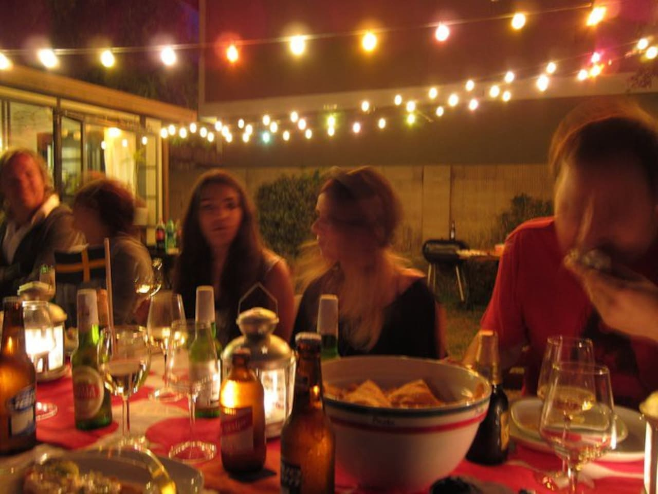 Sitting down for dinner in our backyard - seats atleast 16 people :)