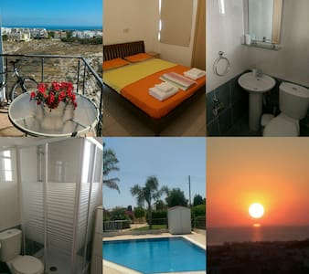 PRIVATE DBL ROOM SEA VIEW-BATHROOM - Paralimni - Leilighet