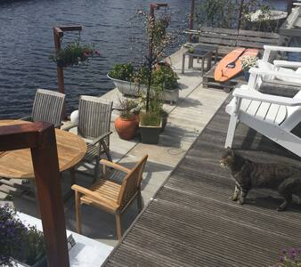 Modern  stylish houseboat in A'dam