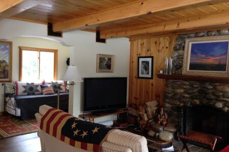 Stunning 2 level 2br 1ba cabin across street from Hurricane Bay, 400yrds to public beach. Gorgeous 1 acre property surrounded by national forest. Bike trails out the door! WIFI. Wood burning fireplace, deck, 2 patios, bbq, lots of parking!
