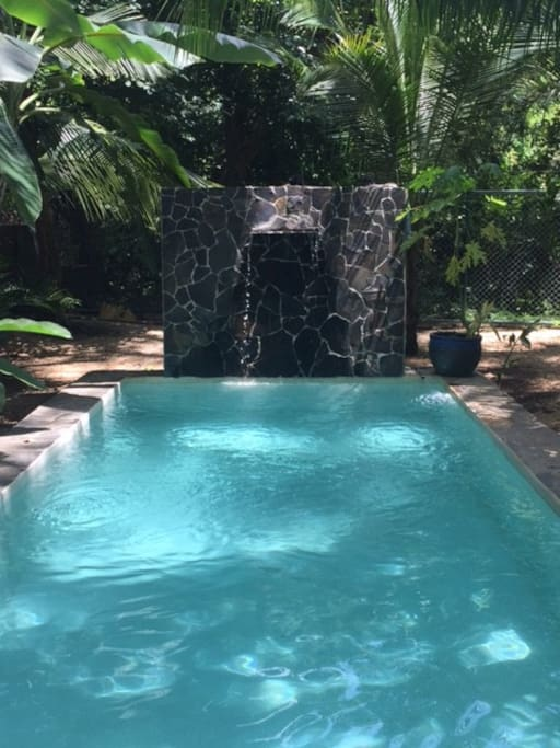 Lounge by the pool side as you relax to the sound of the exotic birds and animals the sound of gentle water falling into the pool.