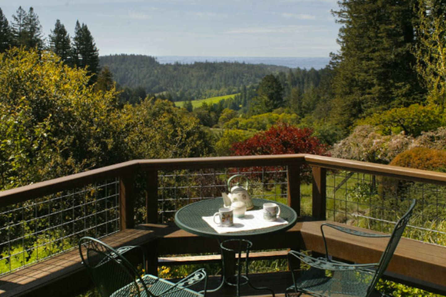 Views of vineyards, countryside and Pacific from the deck