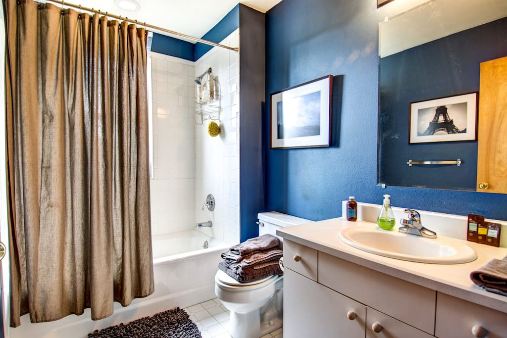 Private full bath with tub and shower.  Fresh Towels set for 2, Artwork, Shower essentials