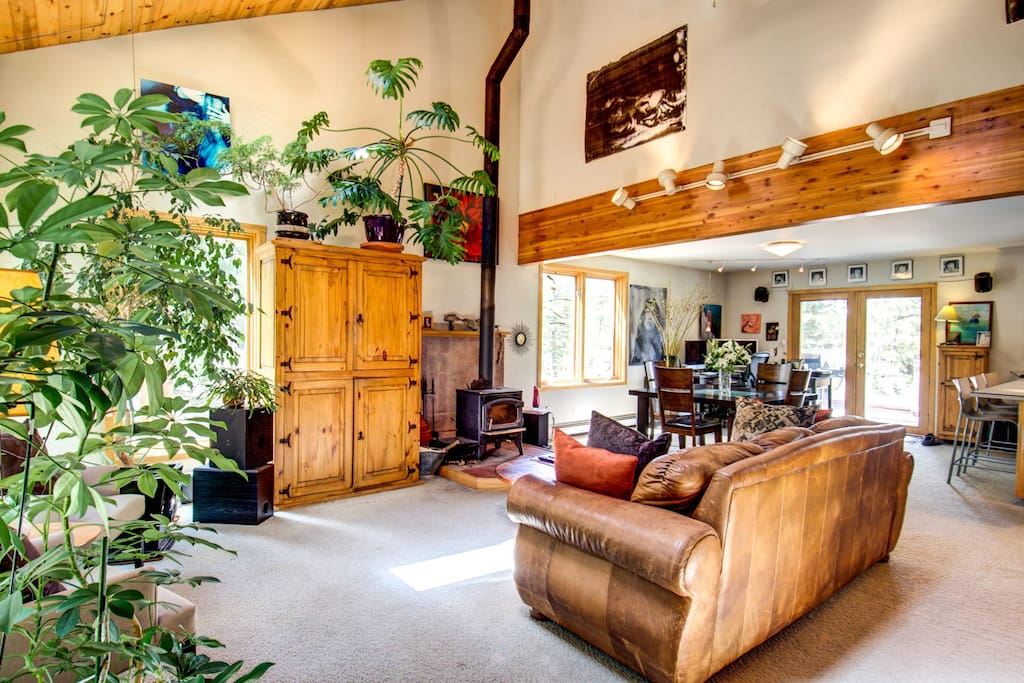 This is the downstairs great room. Filled with great lighting, Forest Views, Artwork, plants and a wood burning fireplace. Relaxing, awesome space and views.