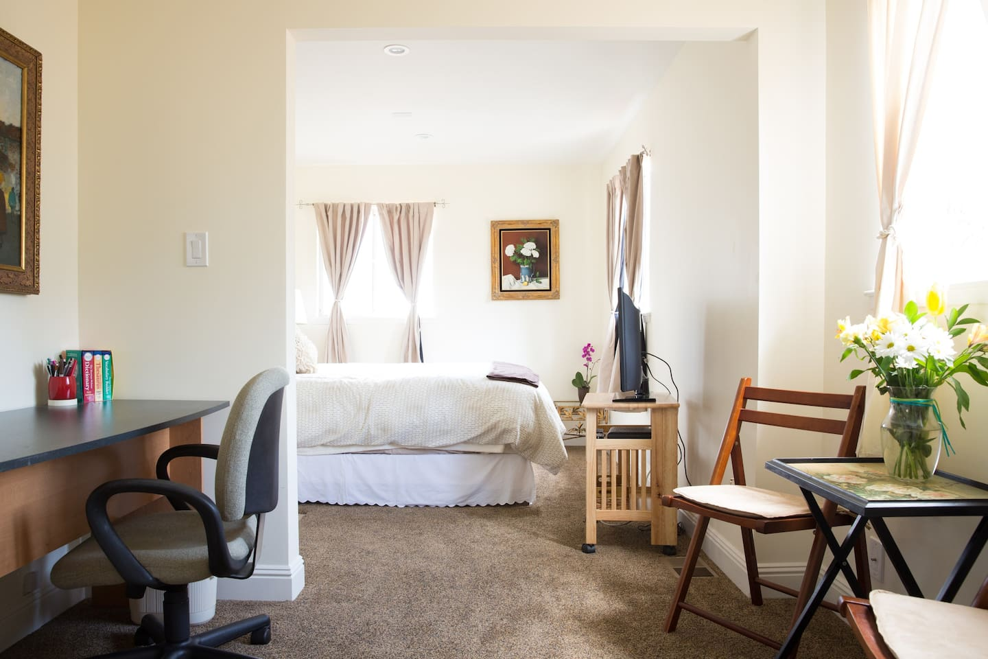 Fresh, clean, newly remodeled suite with private entrance.