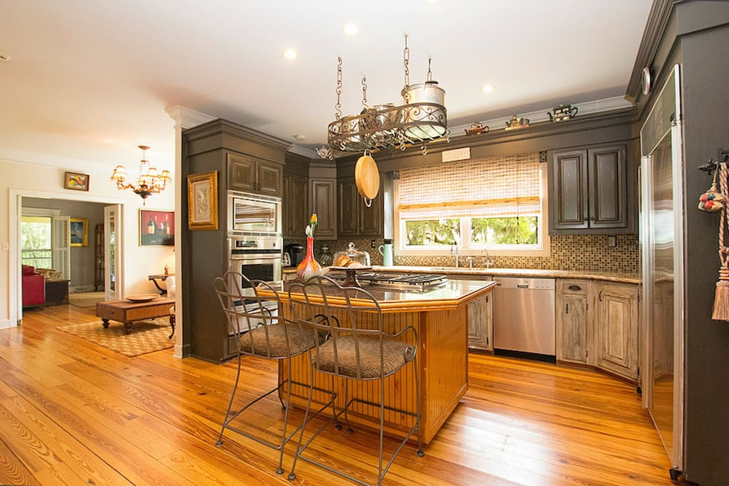 Open and beautiful kitchen. A gourmet stocked and equipped kitchen. Chefs love the kitchen!