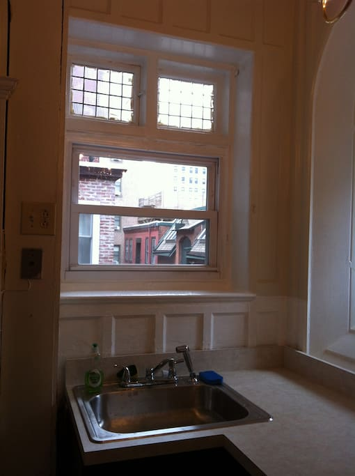Another one of the gorgeous original windows in the kitchen...makes doing dishes slightly bearable!