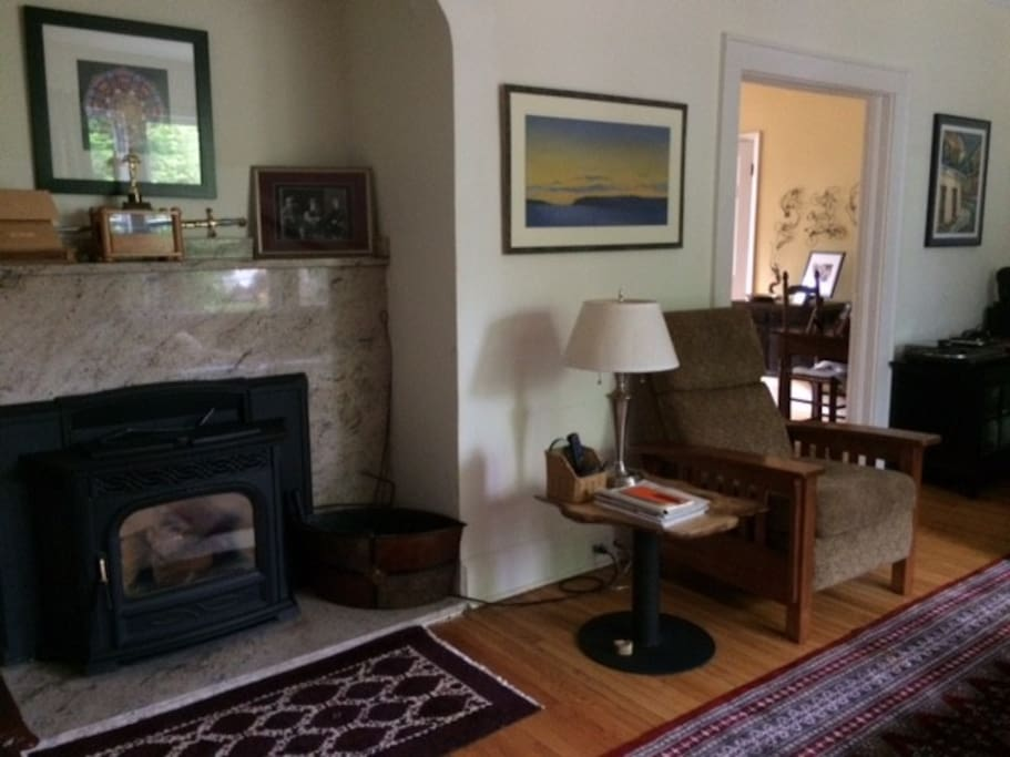 Another Living Room view. We have a pellet stove for winter warmth.