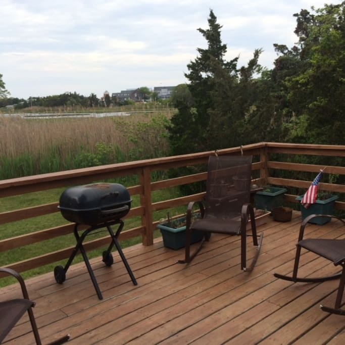 View from the back deck of the lagoon! Awesome spot to watch a Vineyard sunset, have a BBQ or just put up your feet and enjoy!
