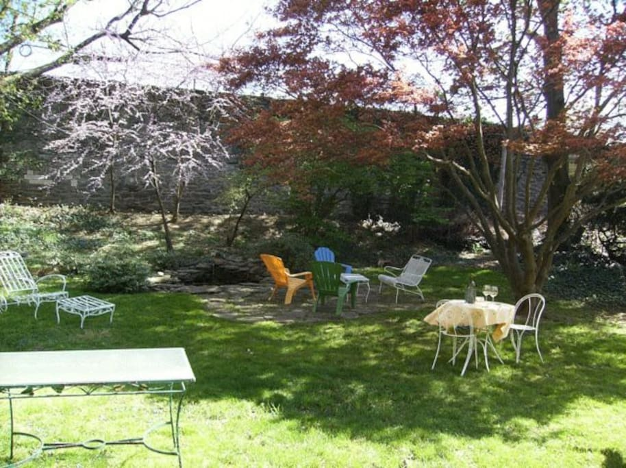 The backyard in full bloom during the spring!