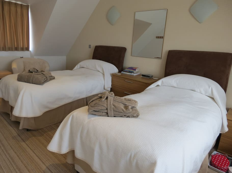 The self-contained apartment has one room with twin beds and.....