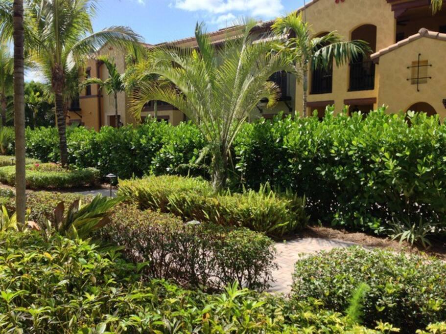 Gardens at the entrance to our condo