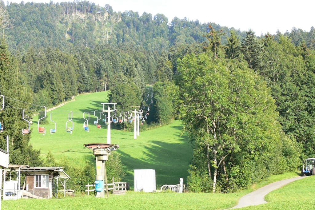 The last authentic one-person-chair lift in Vorarlberg on 10 min walking distance from our house.