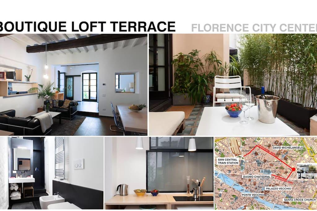 Boutique loft terrace map near the monuments train station, michelangelo david Duomo