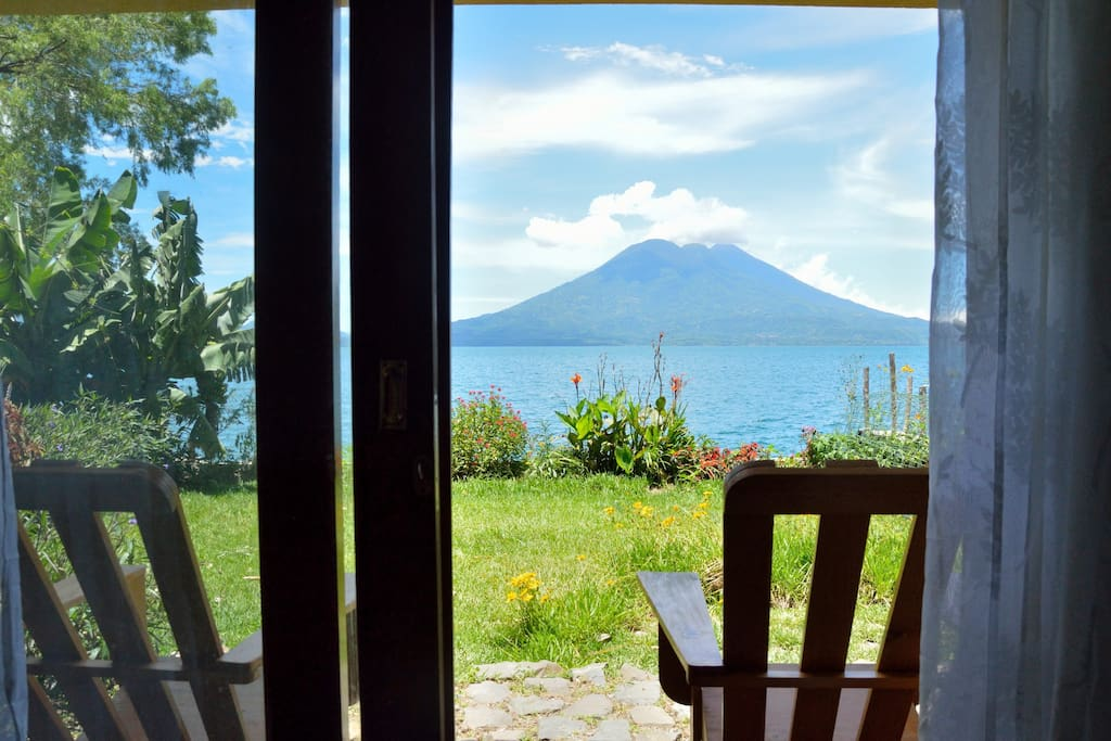 Guest bedroom 1 private patio with volcano view