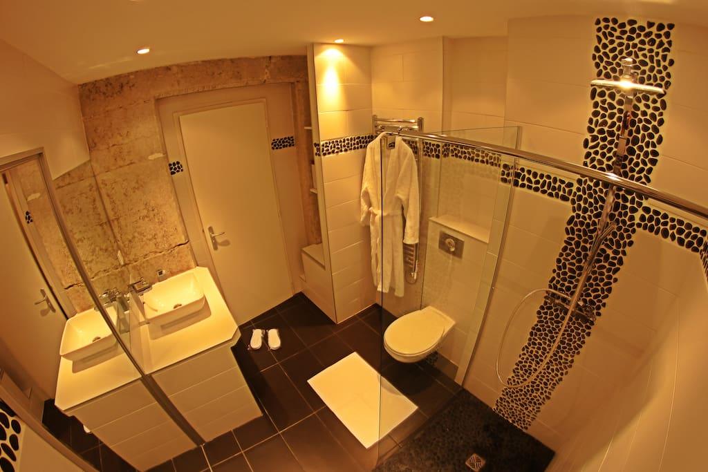 Une Salle De Bain Est Equipee Dune Vasque : la salle de bain contemporaine est équipée d' une douche italienne ...