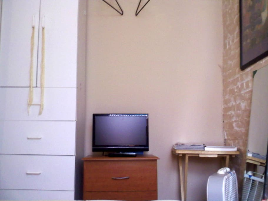 Armoire, clothing rod, tv, dresser, full-length mirror
