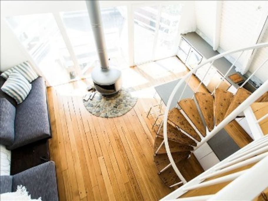 Looking down from the loft bedroom.