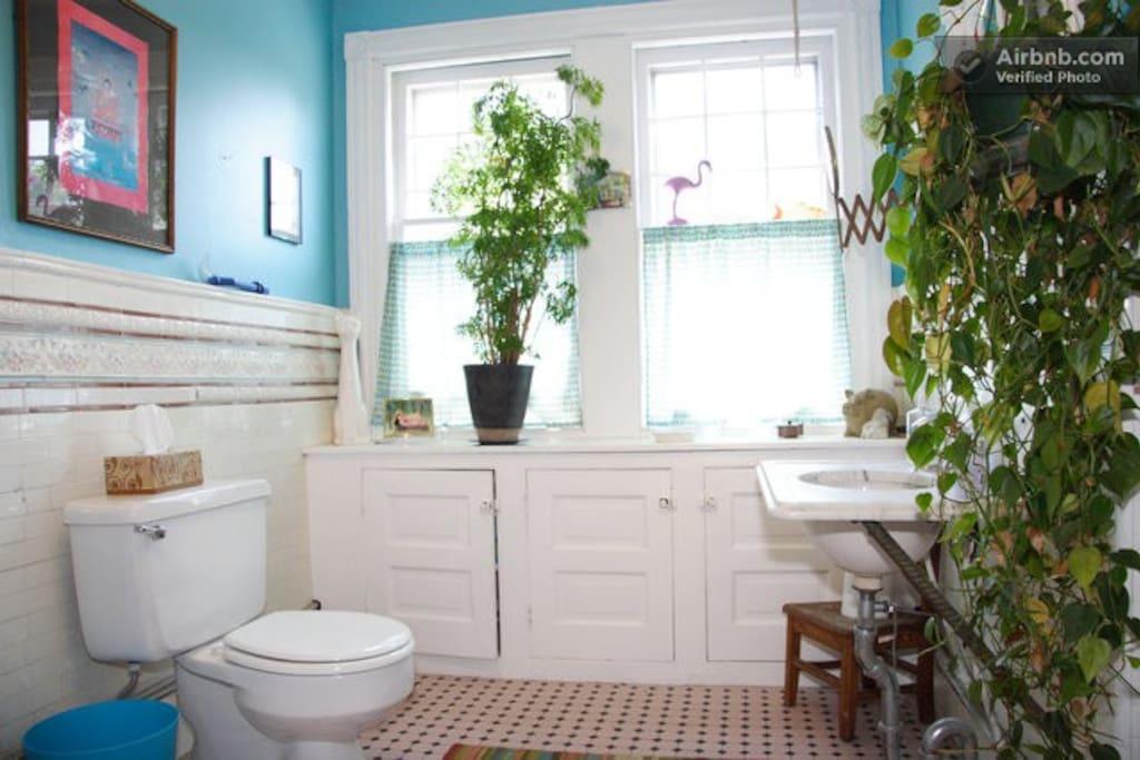 The 3rd floor bathroom - on same floor as The Peach Room - full shower and tub.