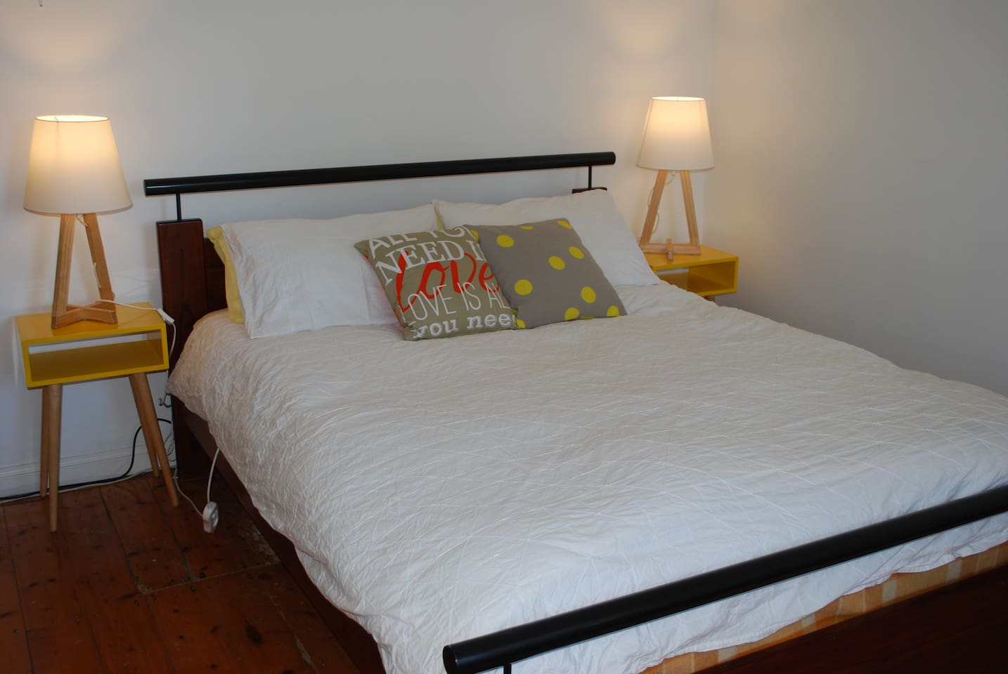Comfortable Queen size bed with feather doona and electric blanket for chilly Melbourne nights