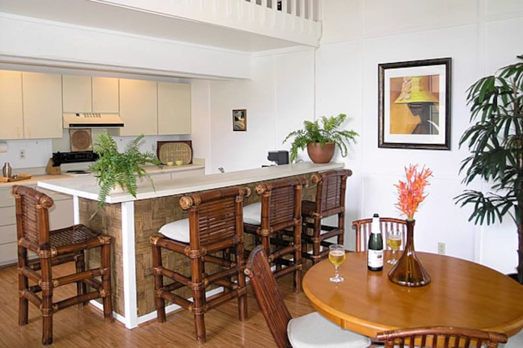 Clean well-equipped kitchen and dining