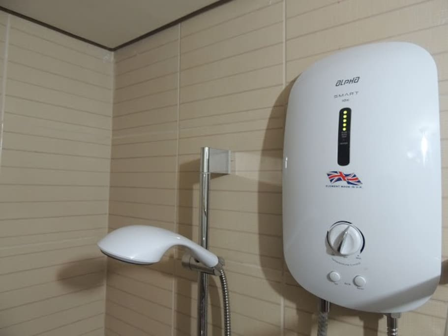 Water heater in the shower room.