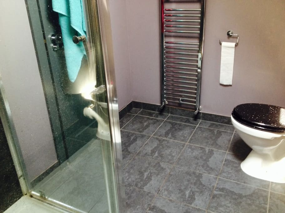 private shower and toilet adjacent to double room - all on one floor with no other rooms