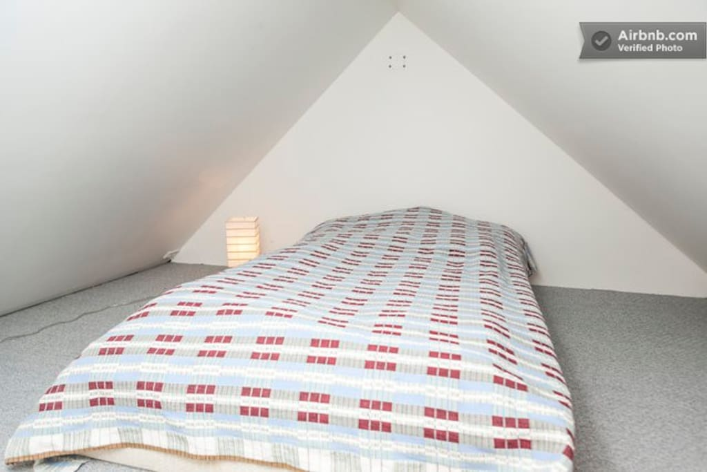 Loft area with two single beds.