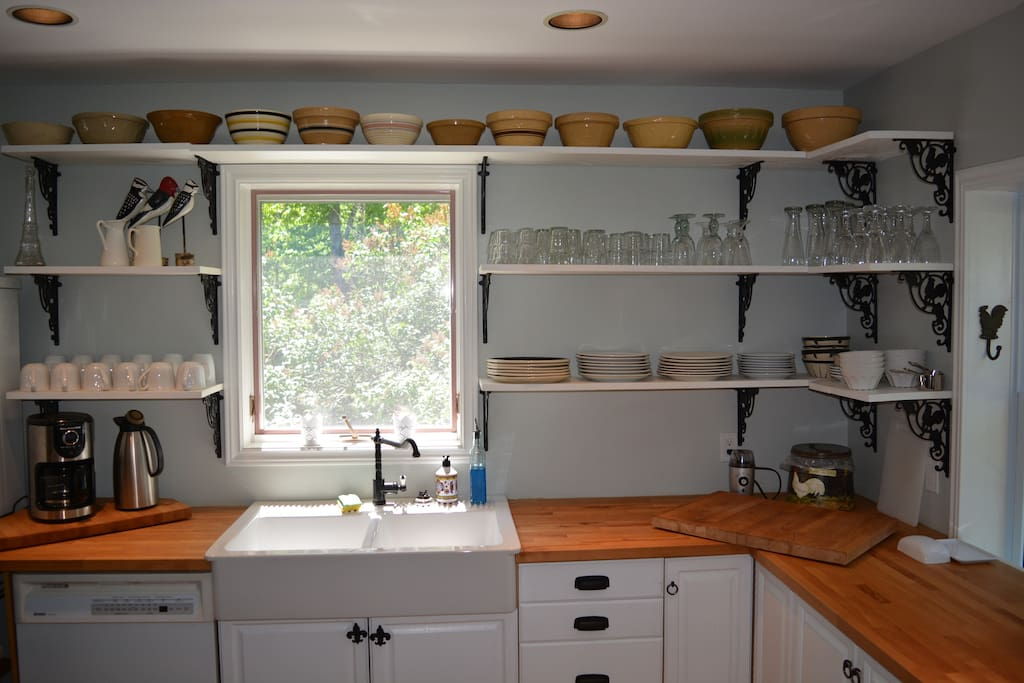 butcher block counters and farm shelving