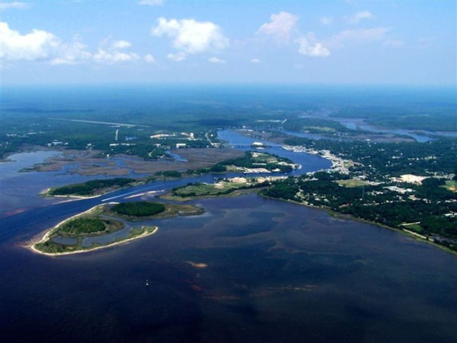 Carrabelle from the air - Gulf, harbor and rivers