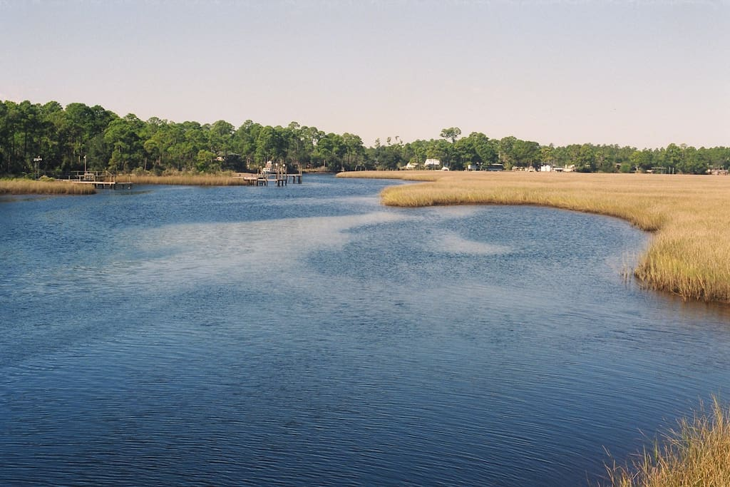 Salt marshes surround the area