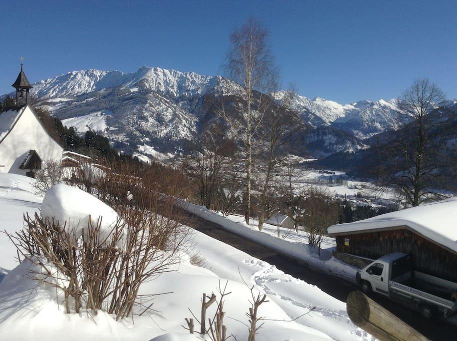 Winterblick Richtung Oberjoch und Hinterstein