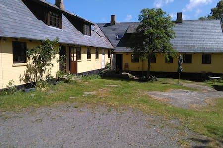 Gult hus på kampestenssokkel - Maison