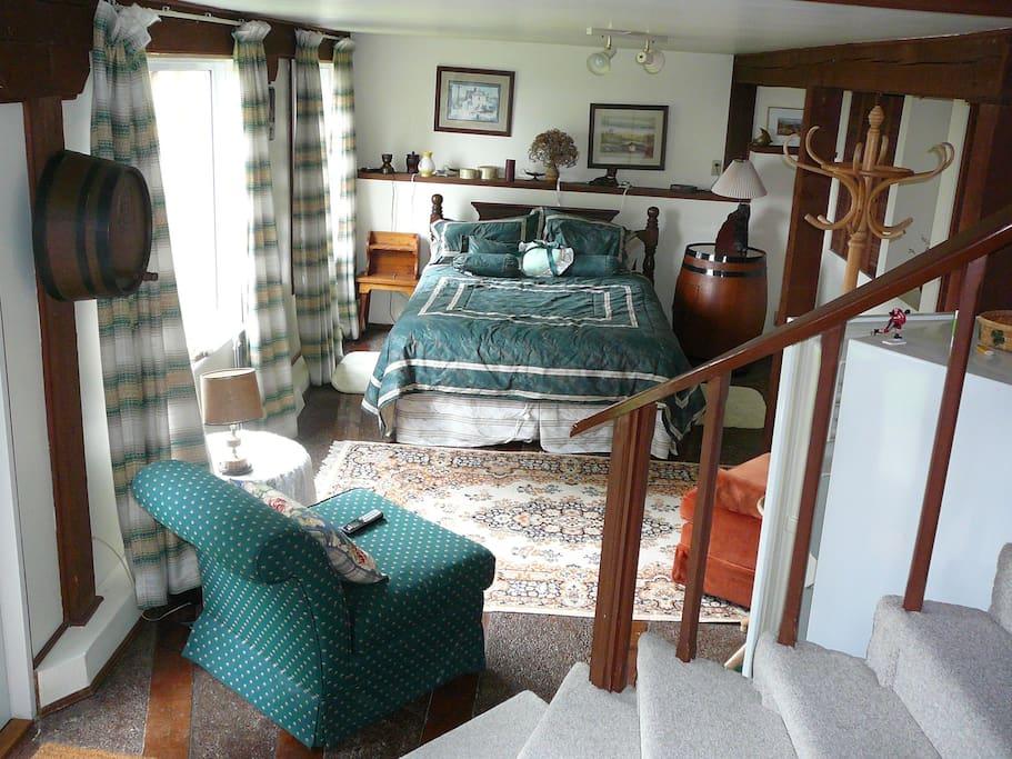 Furnished living room and bedroom